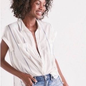 Lucky Brand White Stripe Tie Back Button Down Top